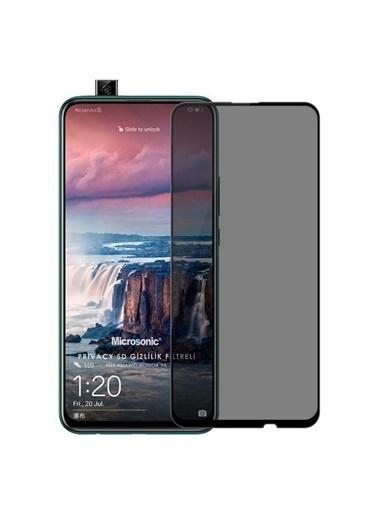 Microsonic Huawei Honor 9X Privacy 5D Gizlilik Filtreli Cam Ekran Koruyucu Siyah Siyah